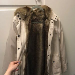 Jackets & Blazers - Cream Faux Fur Raincoat